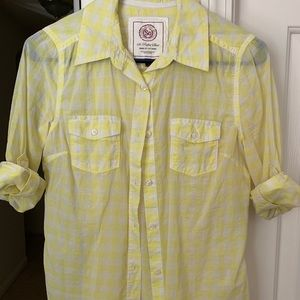 SO Yellow and White Button Down Shirt